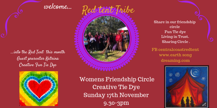 Central Coast Red Tent Friendship & Creative Tie Dye Fun Event Banner