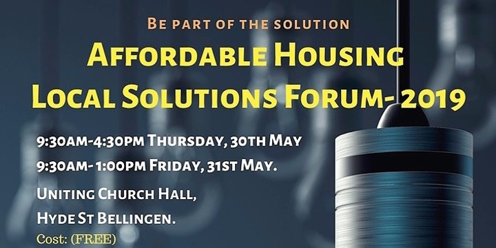 Bellingen & Nambucca Affordable Housing Local Solutions Forum (Free) & Fundraiser Dinner. Event Banner