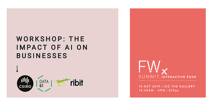 3.15pm - The Impact of AI on businesses, Ribit | Future Work Summit , Sydney 15 Oct 2019 Event Banner