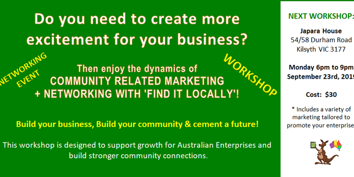 Grow your Business with COMMUNITY RELATED MARKETING + NETWORKING with 'FIND IT LOCALLY'! Event Banner