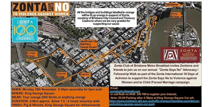 Zonta Says No Advocacy Walk Event Banner