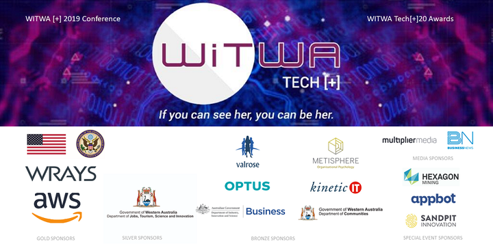 WiTWA[+] 2019 Conference and Tech[+] 20 Awards Event Banner