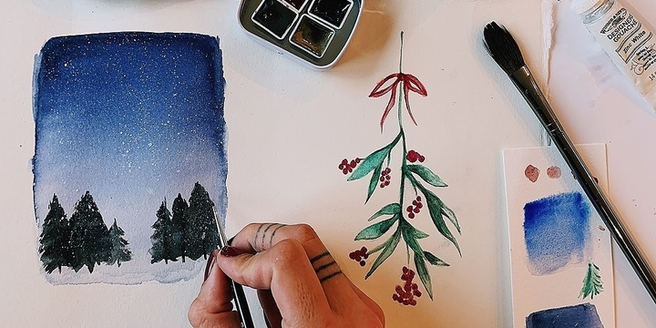 DIY Watercolour Christmas Cards Event Banner