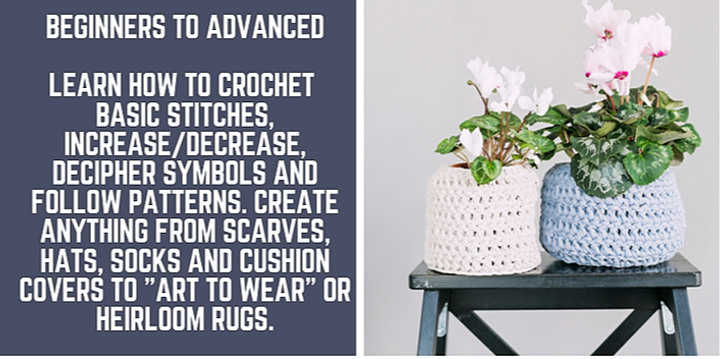 Crochet - Beginners to Advanced - Evening class 4 weeks Event Banner