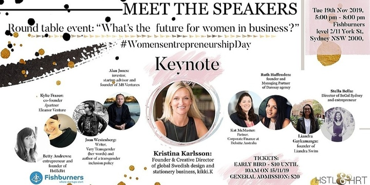 What's the Future for Women in Business? Founder of kikki.K Keynote + Round Table Discussion Event Banner
