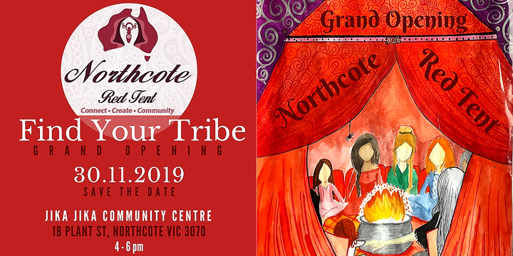 Northcote Red Tent - Find Your Tribe Event Banner