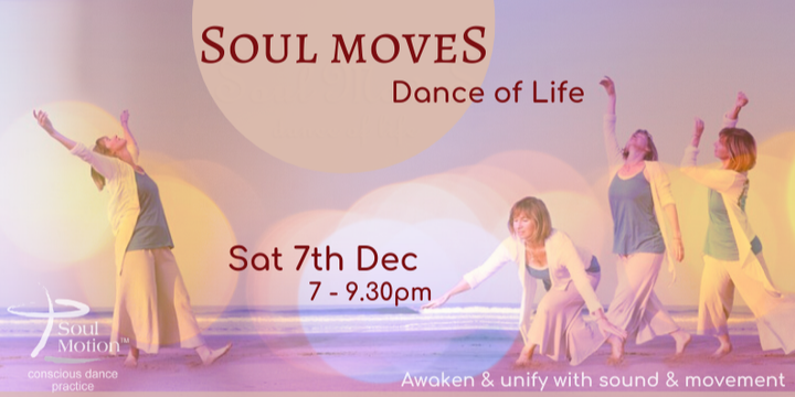 Soul Moves Conscious Dance live music & Sound Healing Hobart Event Banner