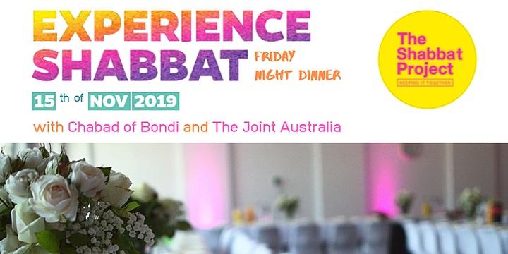 Shabbat Dinner with Chabad of Bondi and The Joint Australia Event Banner
