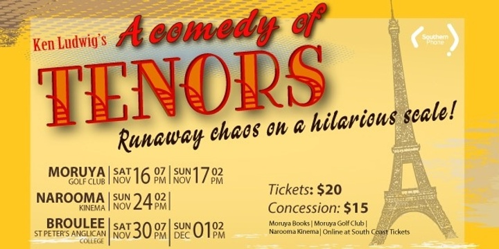 A Comedy of Tenors - Broulee Event Banner