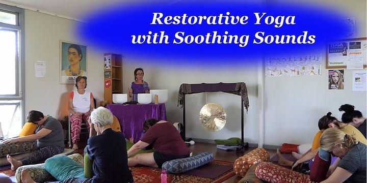 Restorative Yoga with Soothing Sounds Event Banner