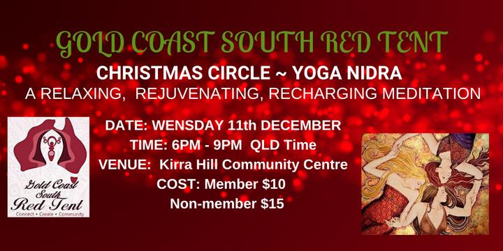 Gold Coast South Red Tent ~ Christmas Circle~ Yoga Nidra Event Banner