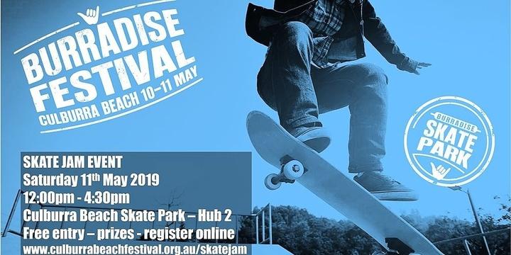 2019 Burradise Festival Skate Jam Event at Culburra Beach Event Banner
