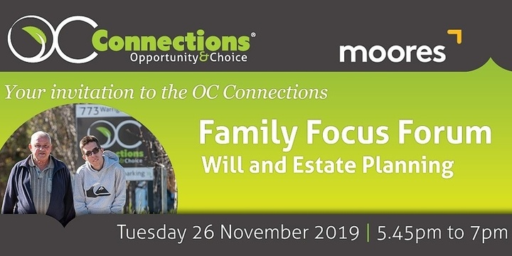 OC Connections Family Focus Forum - Will and Estate Planning Event Banner