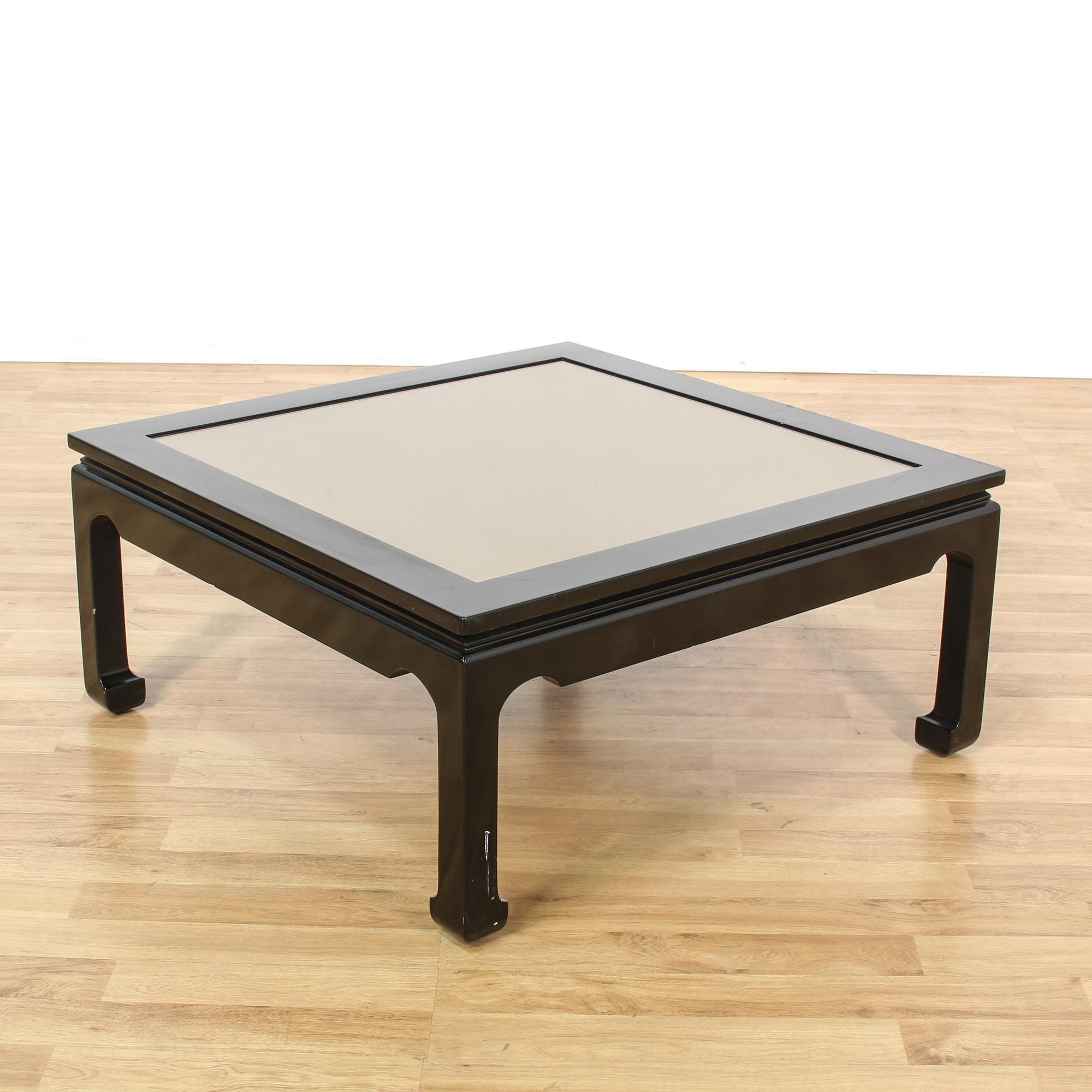 Ebony Glass Top Coffee Table Loveseat Vintage Furniture San Diego Los Angeles