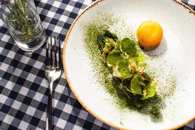 Yorkshire asparagus, radish, wild garlic and confit duck egg