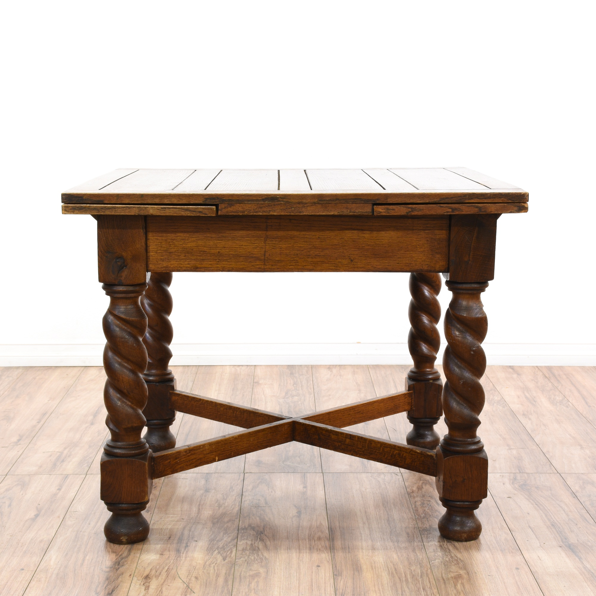 Antique Dining Table W Extension Leaves Loveseat