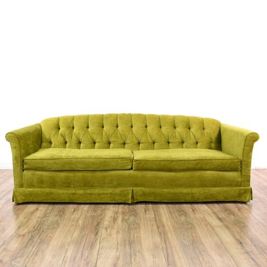 Mid Century Modern Chartreuse Green Velvet Sofa | Loveseat Vintage ...