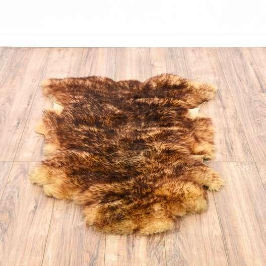 Natural Brown Sheepskin Throw Rug