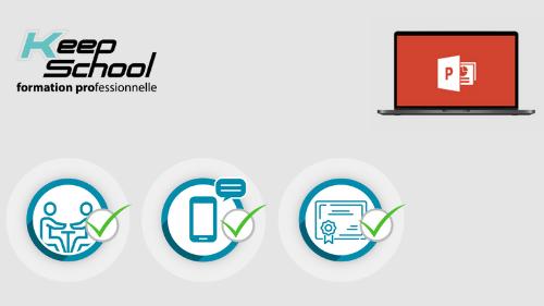 Représentation de la formation : PowerPoint préparation TOSA : cours particuliers à domicile (20h) + e-learning