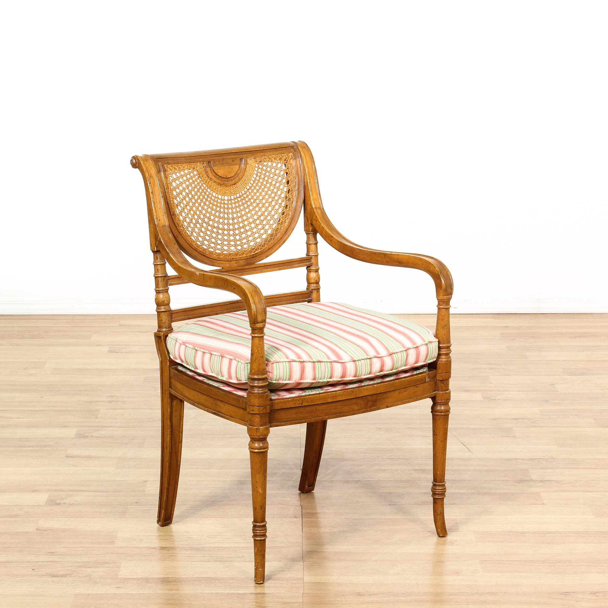 Empire Style Cane Curved Fan Back Accent Chair