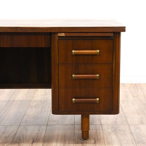 Mid century modern walnut tanker desk loveseat vintage for Mid century modern furniture san francisco