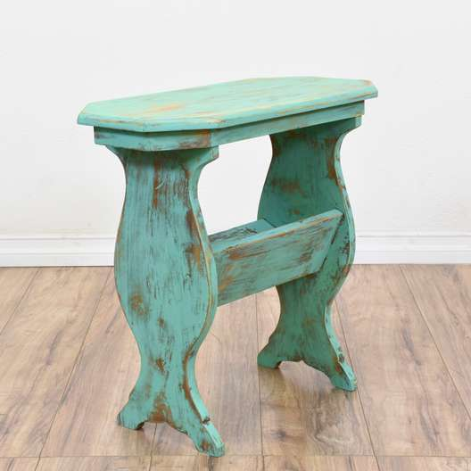 Teal Shabby Chic End Table w/ Magazine Rack