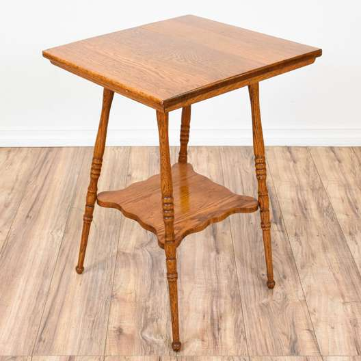 Light Oak Country Chic Tiered Side Table