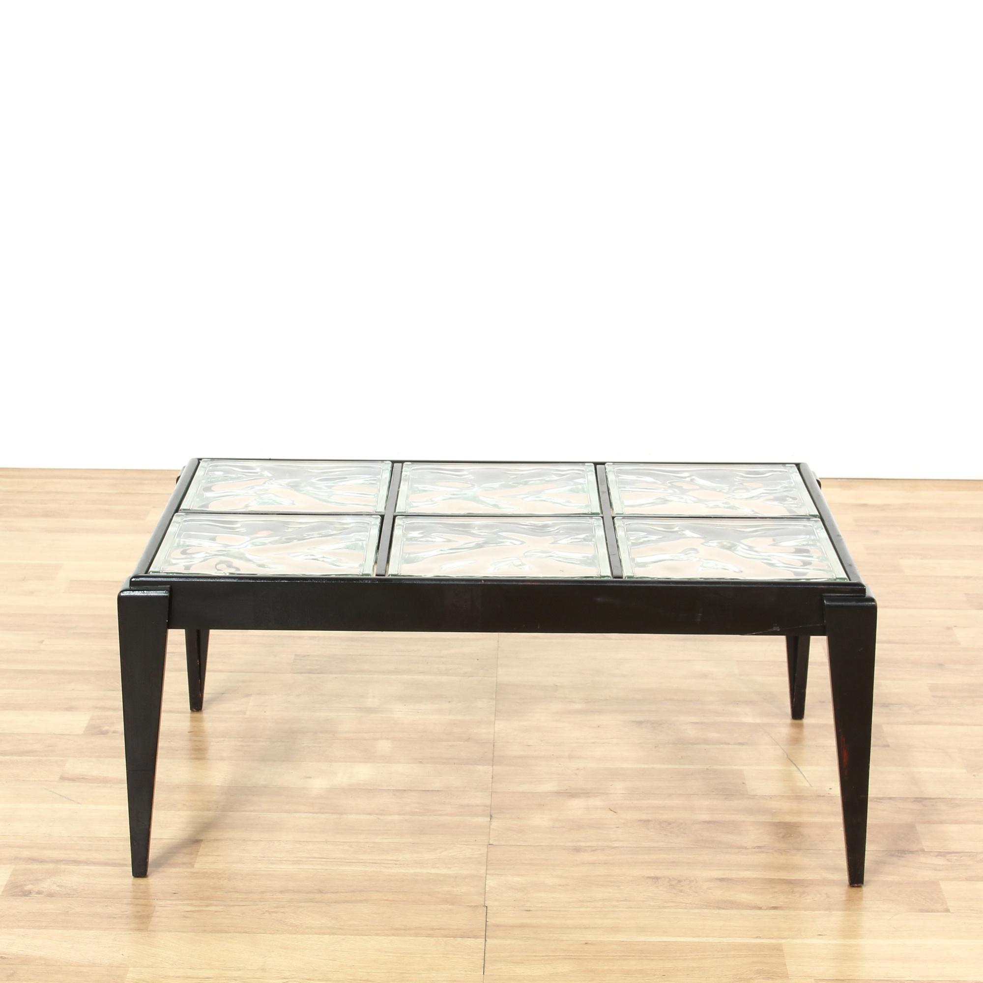 Contemporary Black Glass Block Coffee Table Loveseat Vintage Furniture San Diego Los Angeles
