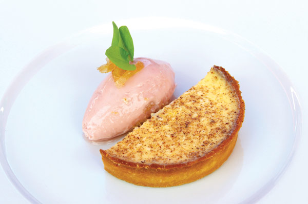 Baked egg custard tart, rhubarb and candied ginger ice-cream