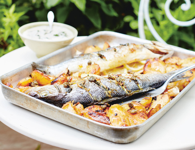Whole baked fish with lemon and ouzo by Catherine Phipps