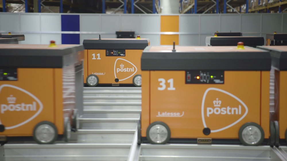 The grid-based robot system implemented by PostNL in collaboration with Consafe Logistics.