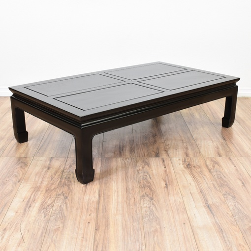 Black Lacquered Asian Style Coffee Table Loveseat Vintage Furniture San Diego Los Angeles