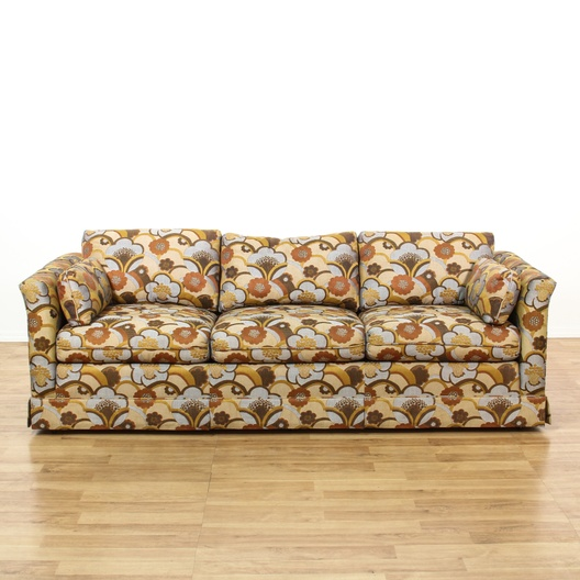 Mid Century Modern Blue Amp Brown Floral Sofa Loveseat