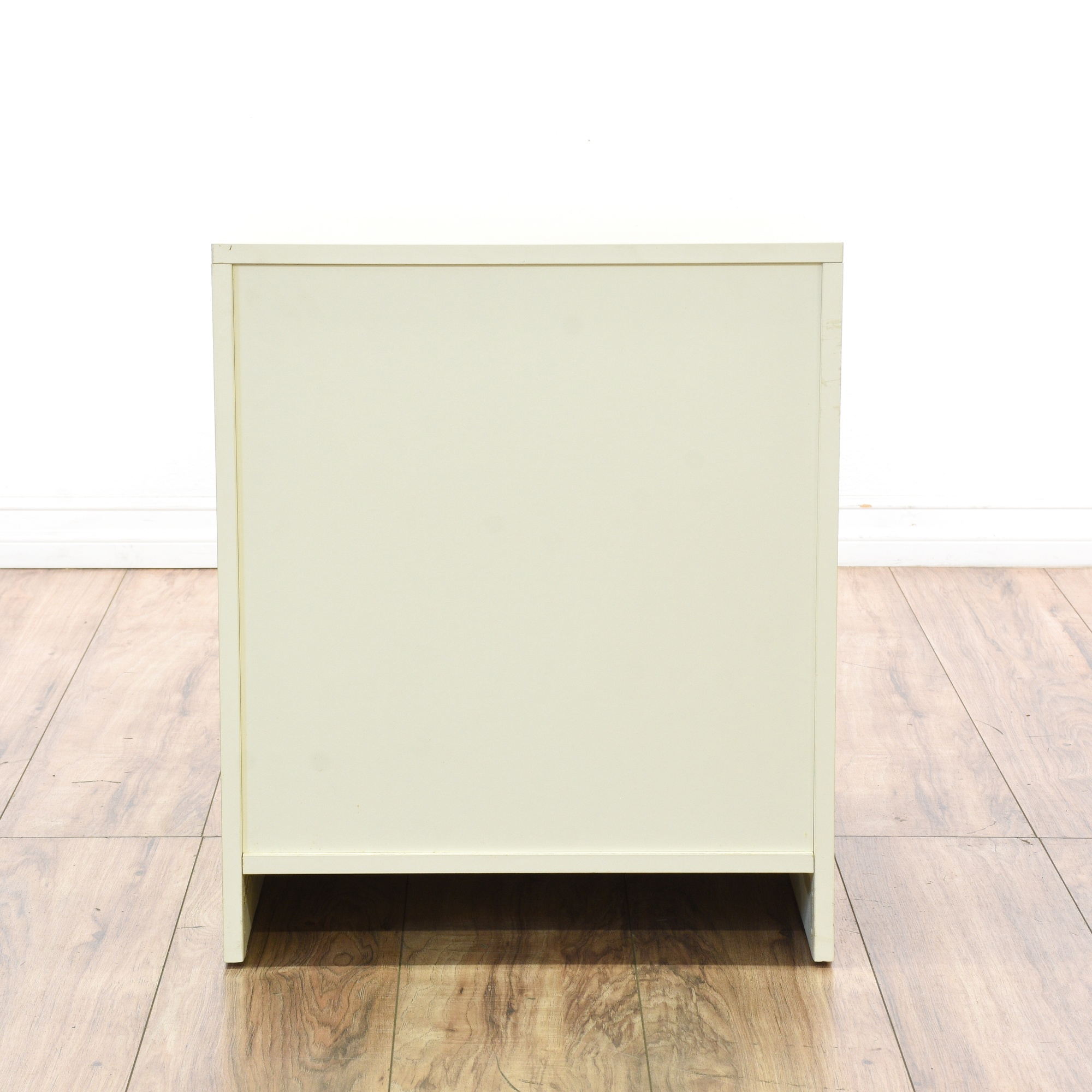 Shiny contemporary table and vintage painted side chairs - Contemporary Off White 3 Drawer Nightstand Loveseat