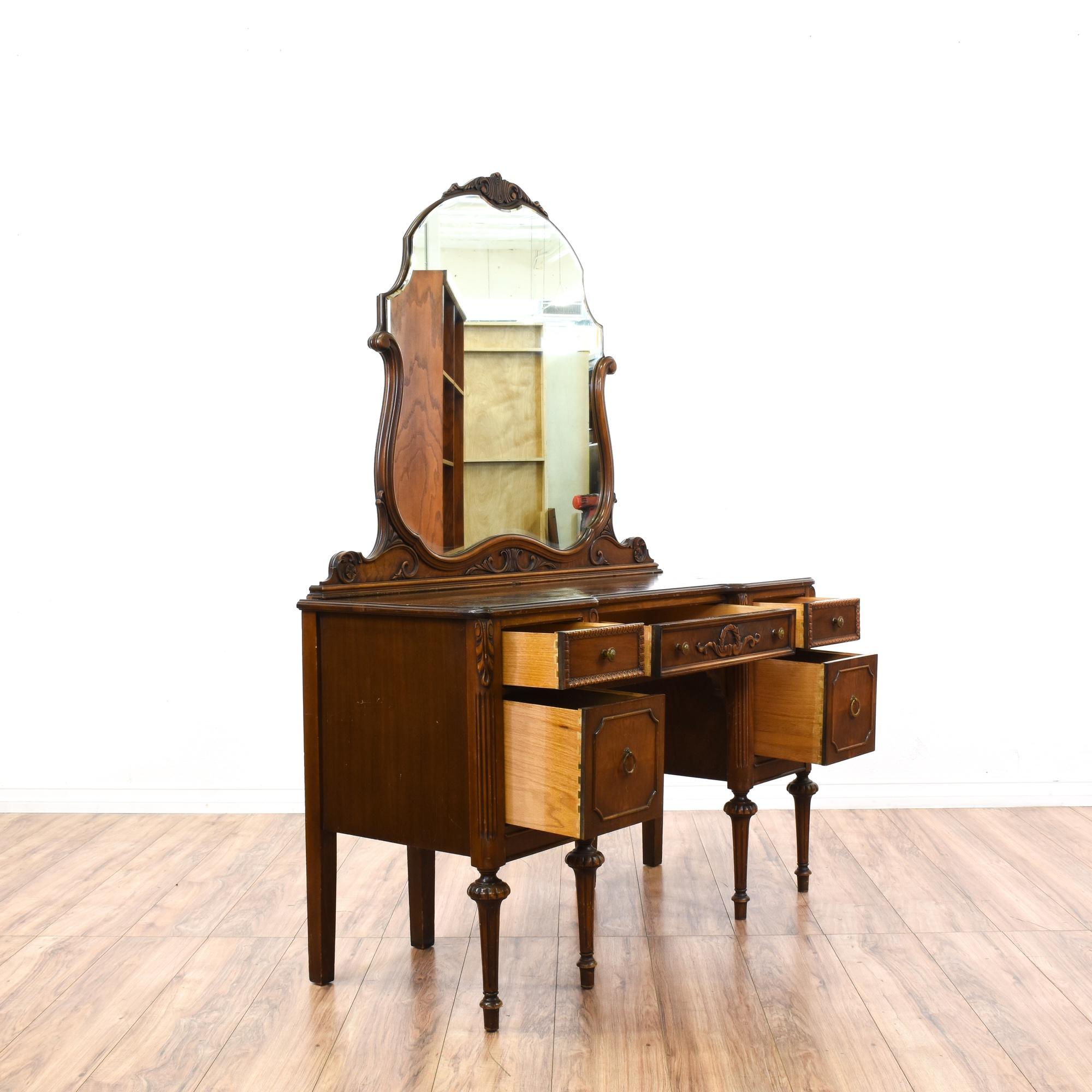 Antique Carved Walnut Vanity & Mirror
