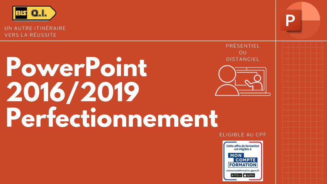 Représentation de la formation : PowerPoint 2016/2019 Perfectionnement