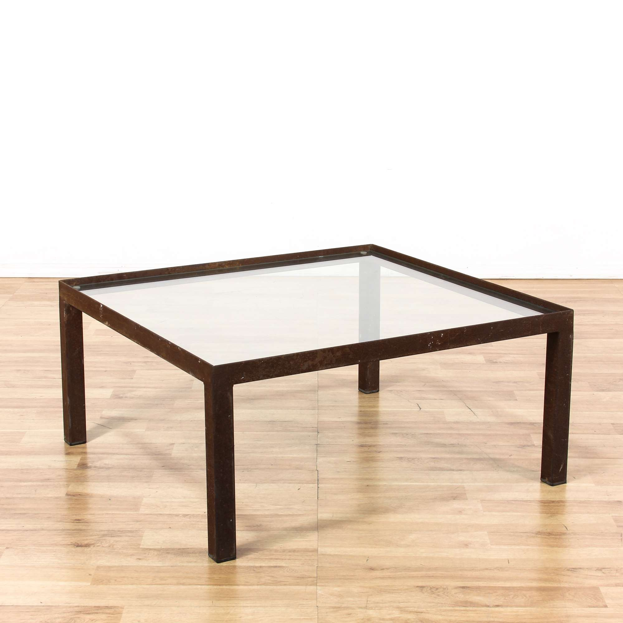Industrial Chic Glass Iron Base Coffee Table Loveseat Vintage Furniture San Diego Los Angeles