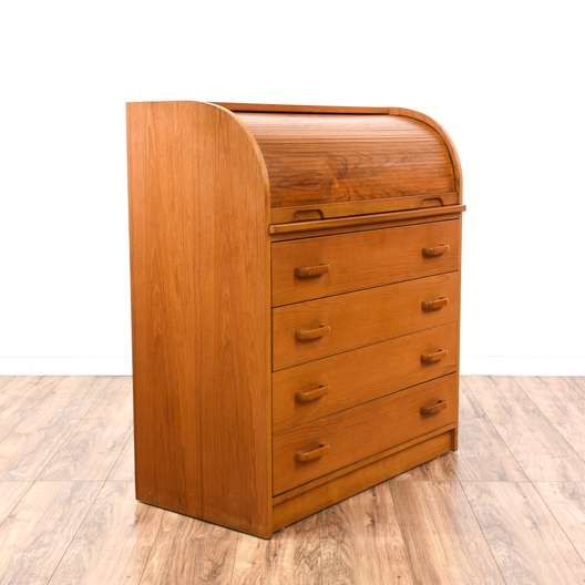 Danish Modern Teak Roll Top Desk Dresser