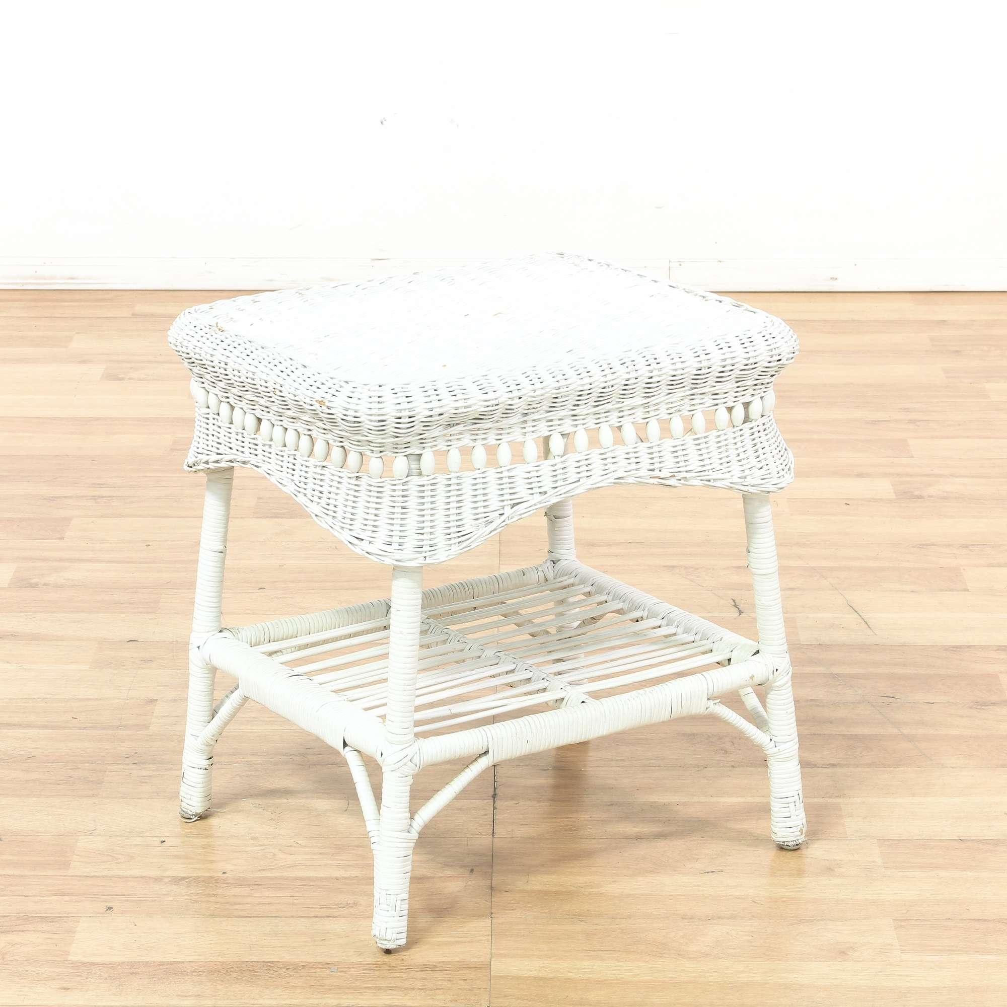 2 Tier White Wicker End Table Loveseat Vintage Furniture Los Angeles