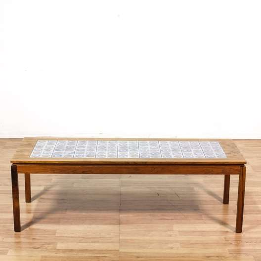 Danish Rosewood Coffee Table w Tile Inlay Loveseat Vintage