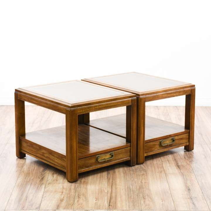 Pair Of Bassett Cane Glass Top End Tables w Drawer Loveseat