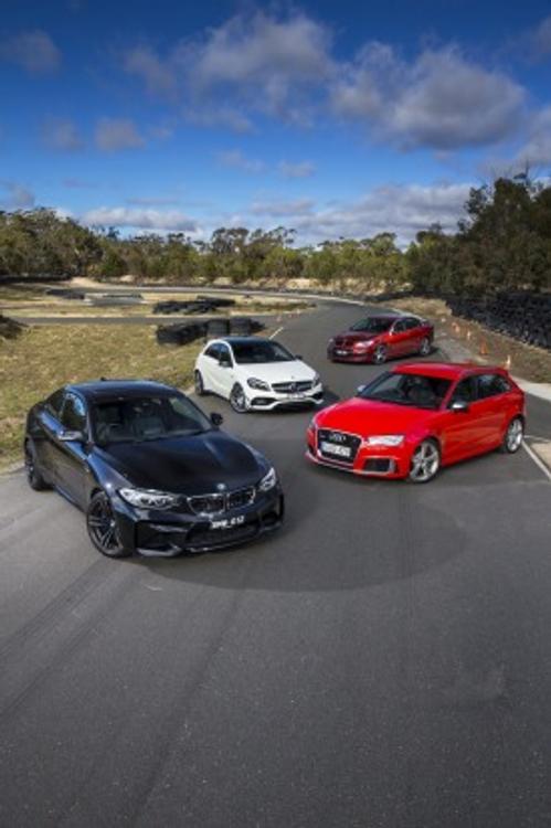 BMW M2 v Audi RS3 Sportback v Mercedes-AMG A45 v HSV