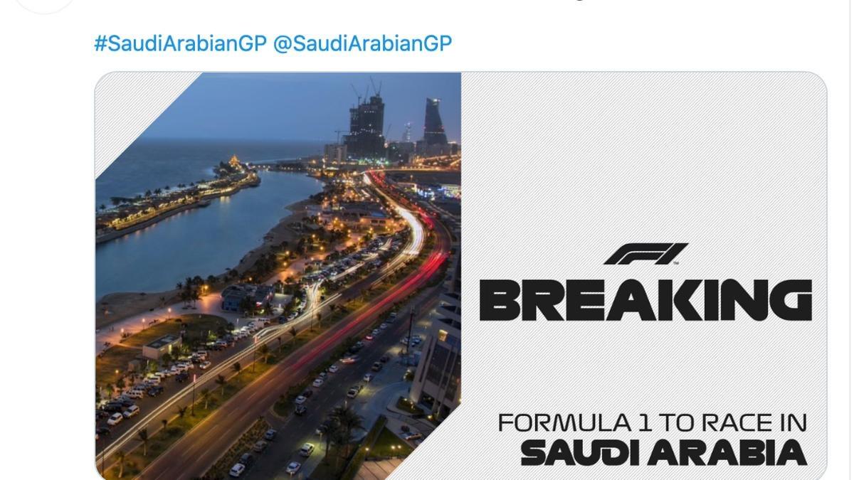 Formula 1 announced the first Saudi Arabian Grand Prix