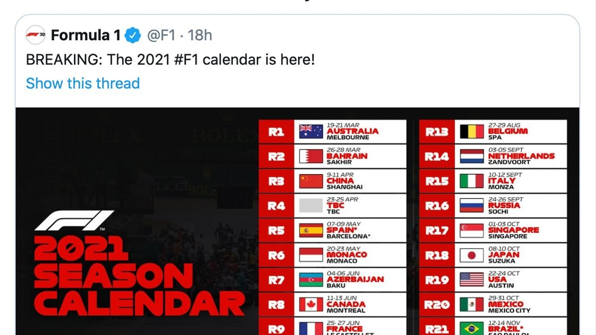 Formula 1 driver George Russell reacts to the 2021 calendar via Twitter