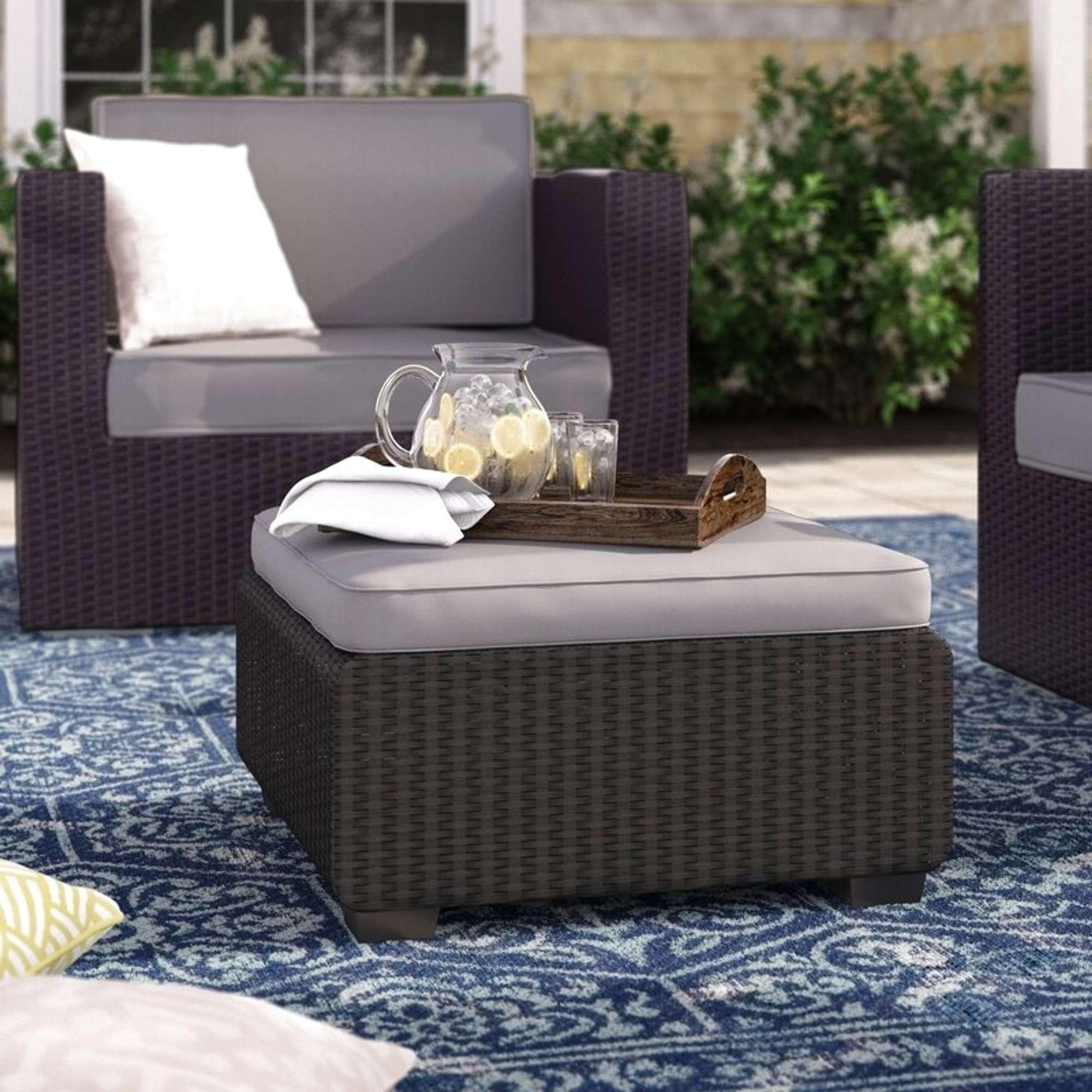 Halloran Gray Outdoor Ottoman W Sunbrella Cushions Loveseat Online Auctions San Diego