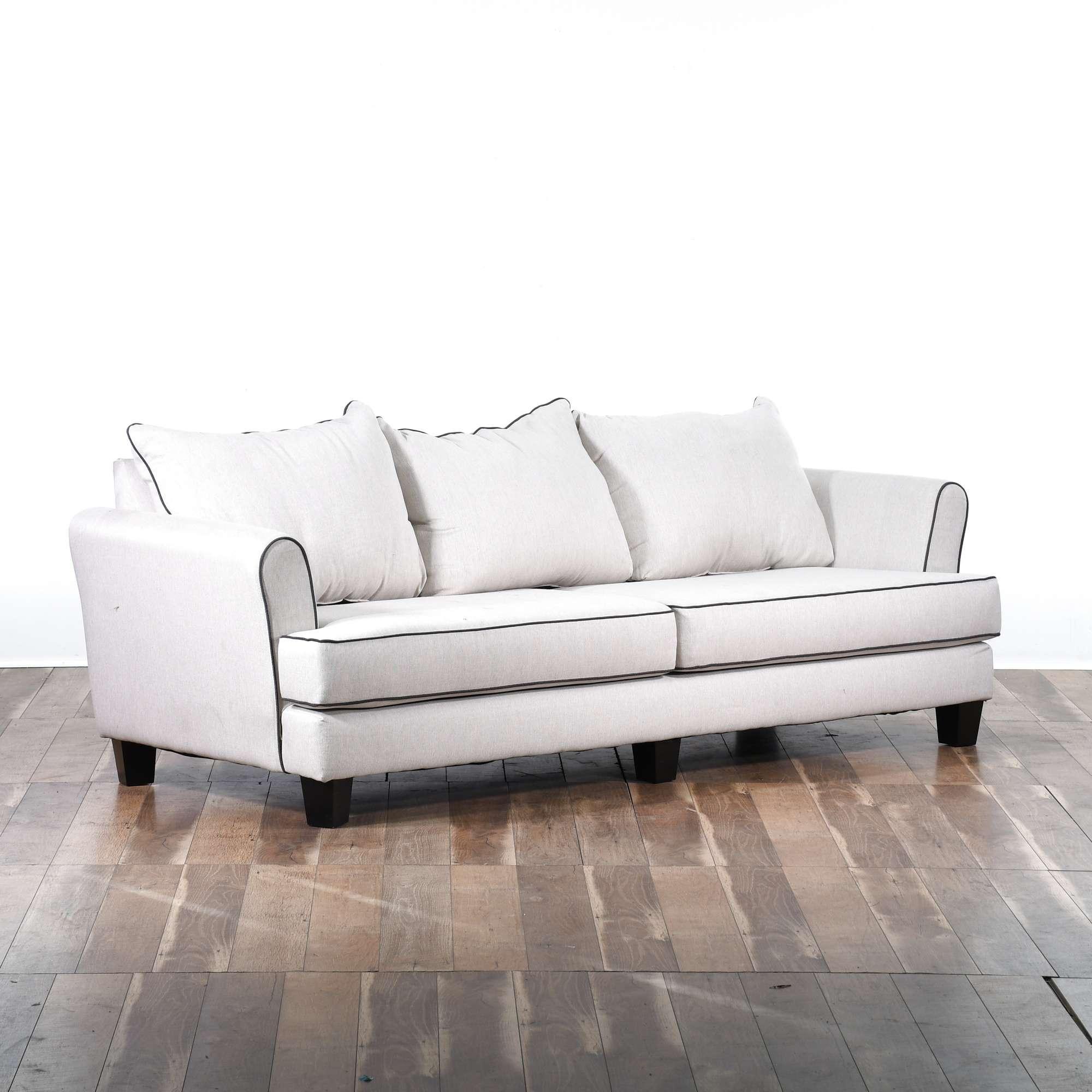 Contemporary White Sofa W Black Trim   Loveseat Online Auctions Los Angeles