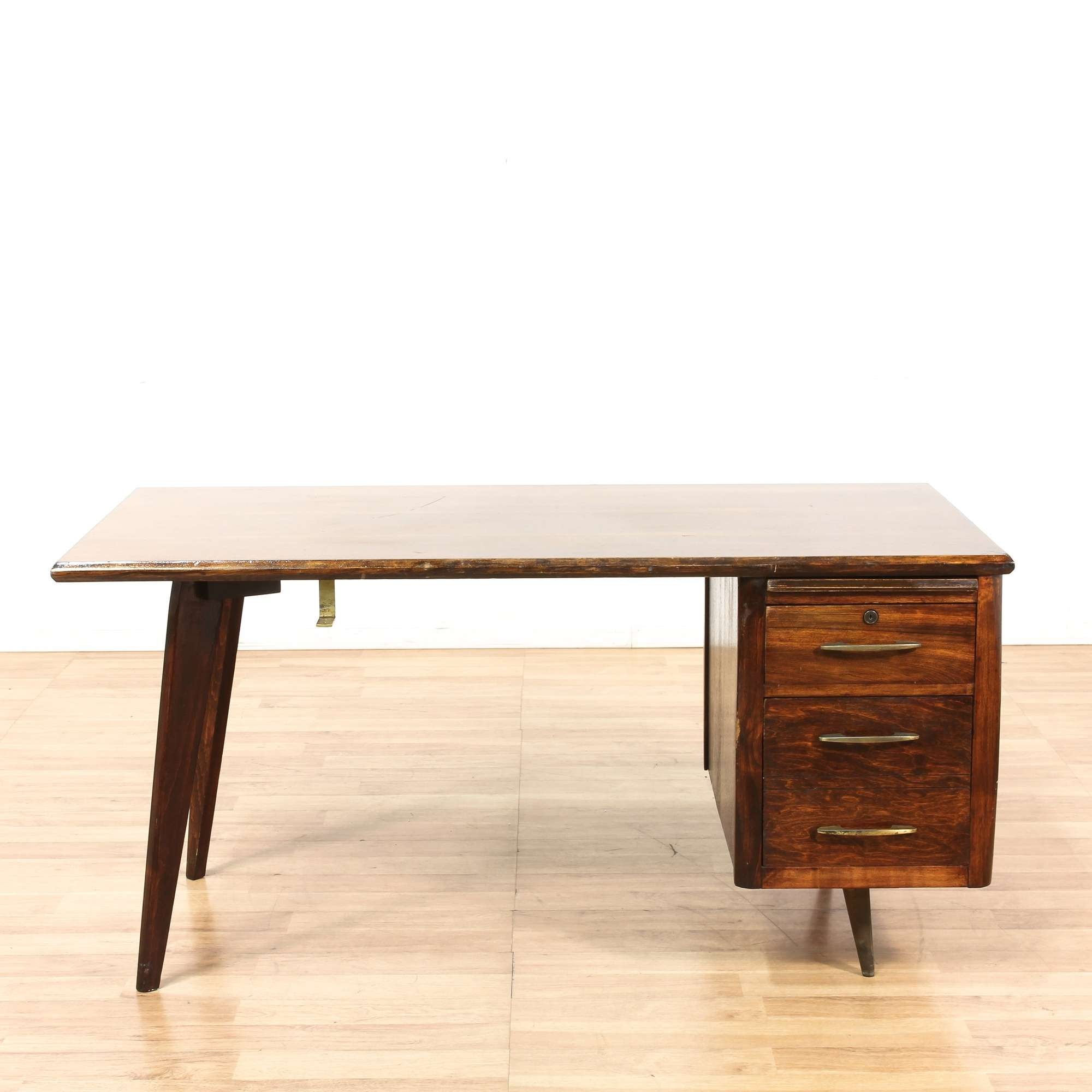 Picture of: Long Mid Century Modern Desk W Slanted Legs Loveseat Online Auctions Los Angeles