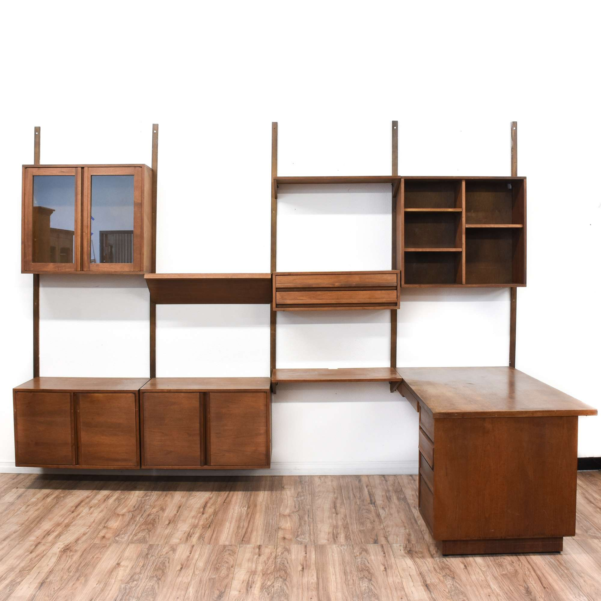 Image of: Mid Century Modern Wall Unit Cabinet Shelf W Desk Loveseat Online Auctions San Diego