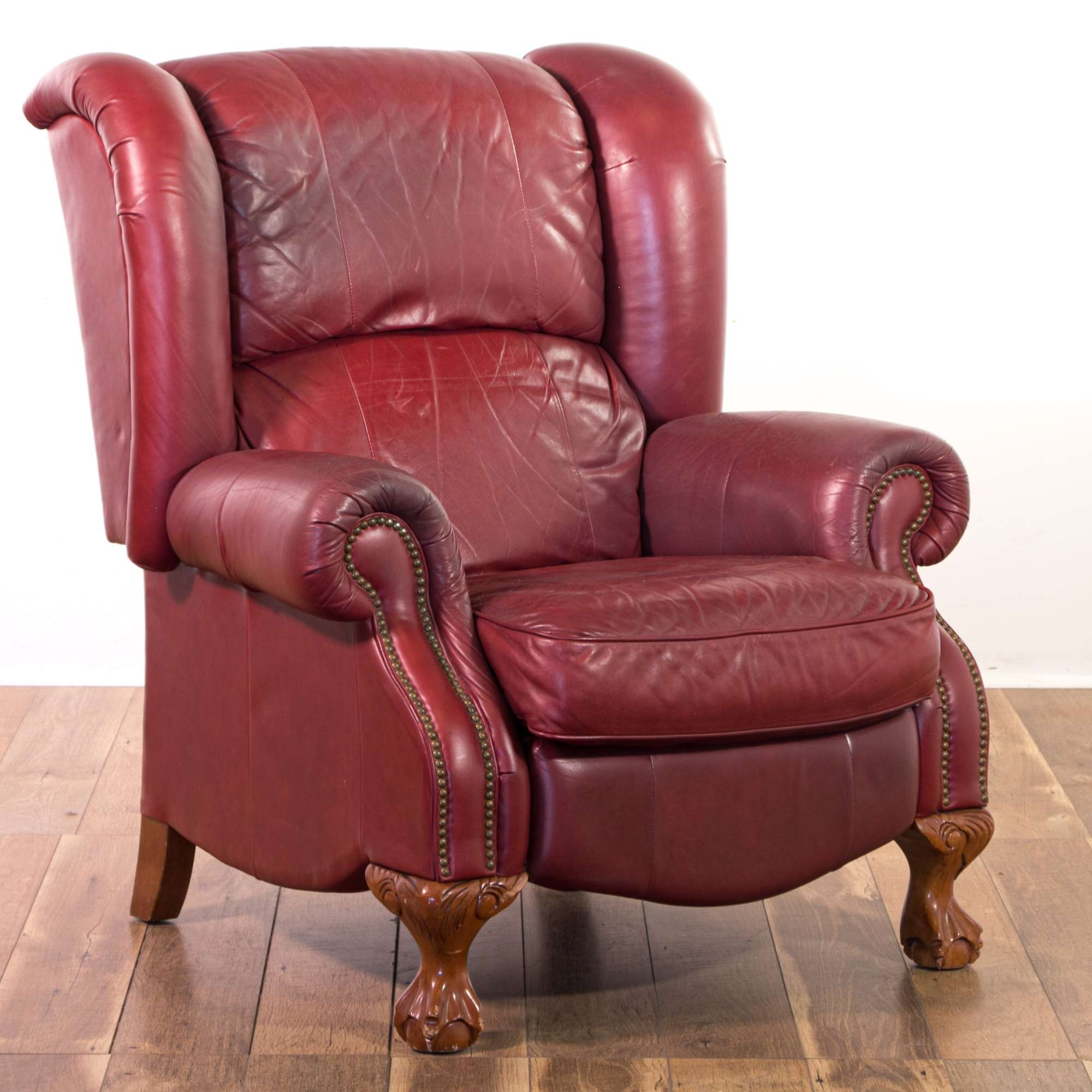 La Z Boy Red Leather Wingback Recliner W Clawfoot Loveseat Online Auctions Los Angeles