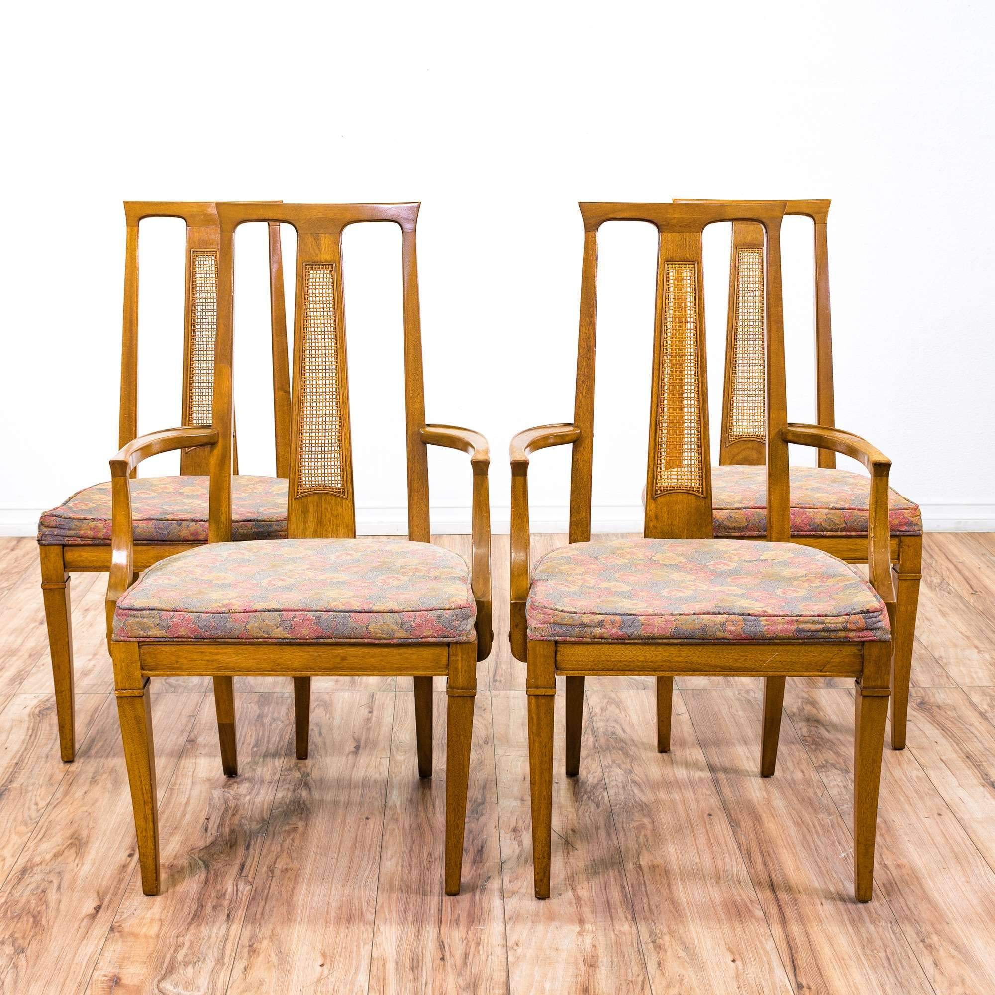 4 Mid Century Modern Cane Back Dining Chairs Loveseat Online Auctions San Diego